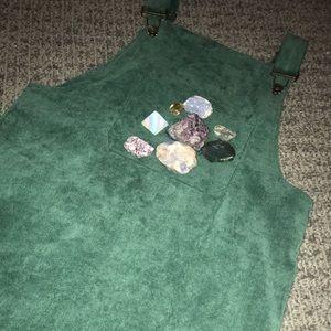 Green Corduroy Overalls Dress